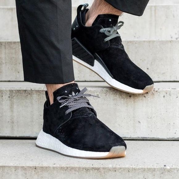 Adidas Originals NMD C2 black suede sneakers 14